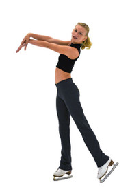 ChloeNoel P49 All Black 3Inch Waist Band Straight Cut Skate / Yoga / Dance Figure Skating Pants