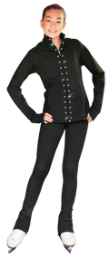 "ChloeNoel PS792 3"" Waist Band Black/Color Cuffs  Elite Figure Skating Pants & Front Pocket & Swarovski Crystal Block"