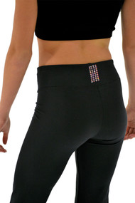 "ChloeNoel P622F All Black 3"" Waist Band Light Weight Fleece Pants with Swarovski Crystal Blocks"