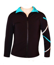 Criss Cross  Poly/Spandex Ice Skating Jacket  Silver/Turquoise  XJ122