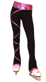 Criss Cross Poly/Spandex Party Pink Ice Skating Pants