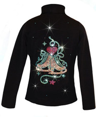 "Ice Skating Jacket with ""Skate with Heart"" Rhinestones Design"