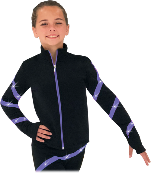 Chloe Noel JS106P Elite Polartec Spiral Fleece Figure Skating Jacket with Crystals