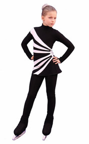 IceDress Figure Skating Dress-Thermal -  Oriental 3 (Black and White) 2nd view