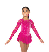 Jerry's Ice Skating  Dress 149 - Jewelled Lace Dress - Fuchsia