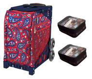 Zuca Sport Bag - Paisley in Red  with Gift 2 Small Utility Pouch (Navy Frame)