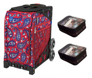 Zuca Sport Bag - Paisley in Red  with Gift 2 Small Utility Pouch (Black non-Flashing Wheels Frame)