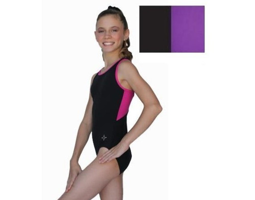 Chloe Noel Leotard GL212 Black and Purple CHILD LARGE ONLY CLEARANCE (40% OFF)