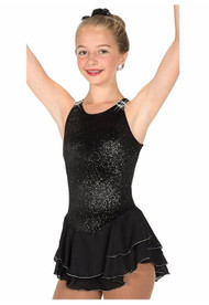 Jerry's Figure Skating Dress 11 - Shimmer (Black), Youth 12-14 CLEARANCE (25% OFF)