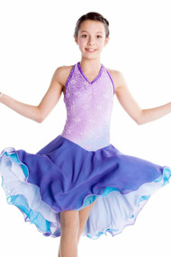Elite Xpression - Basic Lace Dance Dress - Lilac-Turquoise