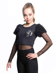 Elite Xpression - Black Crop Top T-shirt with Fur Sleeves