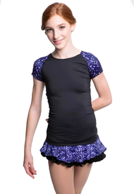 Elite Xpression - Black T-shirt with Sublimated Sleeves - Purple Sparkle