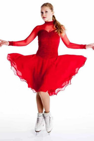 Elite Xpression - Red Crinkle Dance Dress