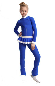 IceDress Figure Skating Overalls - Thermal - Valley (Cornflower with Black)