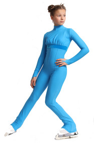 IceDress Figure Skating Overalls - Thermal - Style (Blue with Velvet Trim)