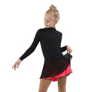 IceDress - Figure Skating Skirts - Harmony (Black with Hot Coral )