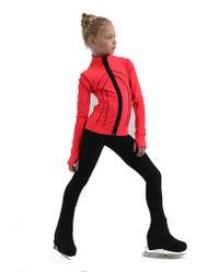 IceDress Figure Skating Jacket - Thermal - Kant (Hot Coral with Black)