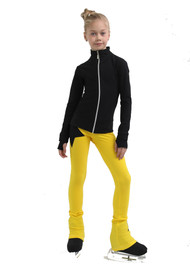 IceDress Figure Skating Pants - Thermal - Disco Dance (Black with Yellow)
