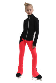 IceDress Figure Skating Pants - Thermal - Disco Dance (Black with Hot Coral)