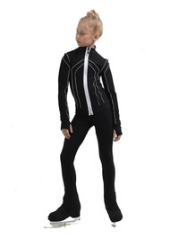 IceDress Figure Skating Pants - Thermal - Kant (Black with White)