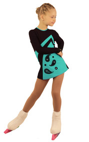 IceDress Figure Skating Dress - Thermal - Velvet (Black with MINT-ORNMNT)
