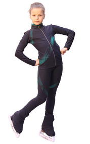 IceDress Figure Skating Outfit - Thermal - Cascade (Dark gray with Mint thermo-applications)