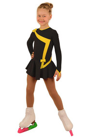 IceDress Figure Skating Dress - Thermal - Bows 2 (Dark grey with Yellow)