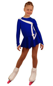 IceDress Figure Skating Dress - Thermal - Bows 2 (Cornflower Blue with White)