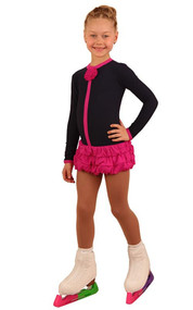 IceDress Figure Skating Dress - Thermal - Buff (Grey-Dark Blue with Fuchsia)