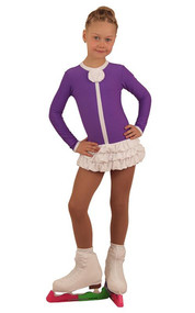 IceDress Figure Skating Dress - Thermal - Buff (Purple with White)