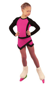 IceDress Figure Skating Dress - Thermal - IceSports (Fuchsia with Black)