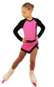 IceDress Figure Skating Dress - Thermal - IceSports (Hot Pink with Black)