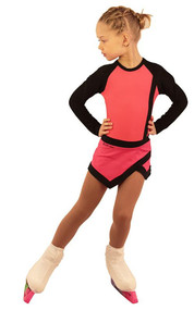 IceDress Figure Skating Dress - Thermal - IceSports (Hot Coral with Black)