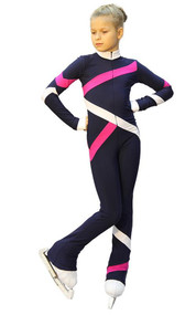 IceDress - Figure Skating Training Overalls  - Quad (Dark blue. Fuchsia and White)