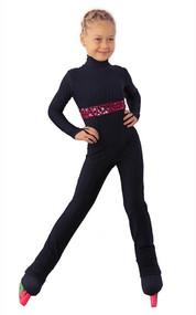 IceDress Figure Skating Overalls - Thermal - Cascade (Black with White thermo-applications)