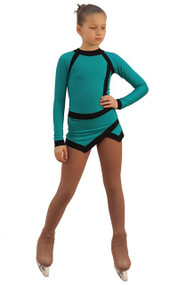 IceDress Figure Skating Dress - Thermal - IceSports (Emerald and Black)