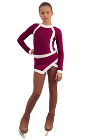 IceDress Figure Skating Dress - Thermal - IceSports ( Bordeaux and White)