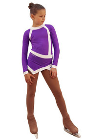 IceDress Figure Skating Dress - Thermal - IceSports (Purple and White)
