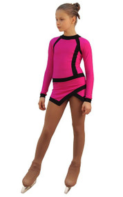 IceDress Figure Skating Dress - Thermal - IceSports (Fuchsia and Black)
