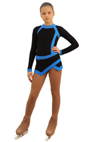IceDress Figure Skating Dress - Thermal - IceSports (Black and Blue)