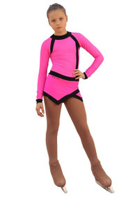 IceDress Figure Skating Dress - Thermal - Jackson 2 (Hot Pink and Black)