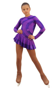 IceDress Figure Skating Dress - Thermal - Serpentine (Purple with Purple Lycra)