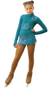 IceDress Figure Skating Dress - Thermal - Super Star (Emerald with Rhinestones)