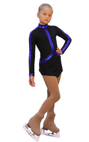 IceDress Figure Skating Outfit - Thermal - Arabesque 2 (Black  with Violet lycra)