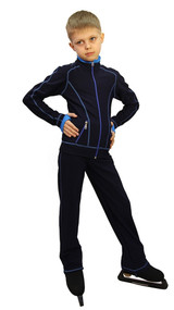 IceDress Figure Skating Pants - Todes for Boys (Dark Blue with Blue Line)