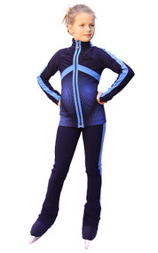 IceDress Figure Skating pants - Jump (Dark Blue with Blue stripes)