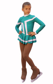 IceDress Figure Skating Outfit - Thermal -Choctaw (Mint with White Line)