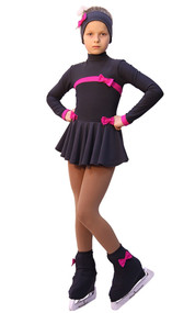 IceDress Figure Skating Outfit - Thermal - Bows (Dark Grey and Fuchsia)
