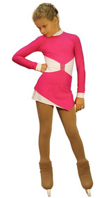 IceDress Figure Skating Outfit - Thermal - Oriental-2 (Fuchsia and White)