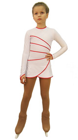 IceDress Figure Skating Dress-Thermal -  Grace (White with Raspberry  Line)
